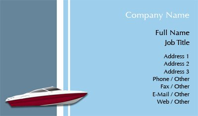 Blue Speed Boat Business Card Template